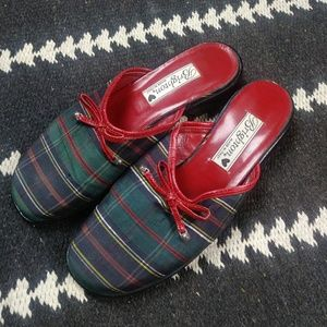 Brighton Holly Green and Red Plaid Mules. 6.5
